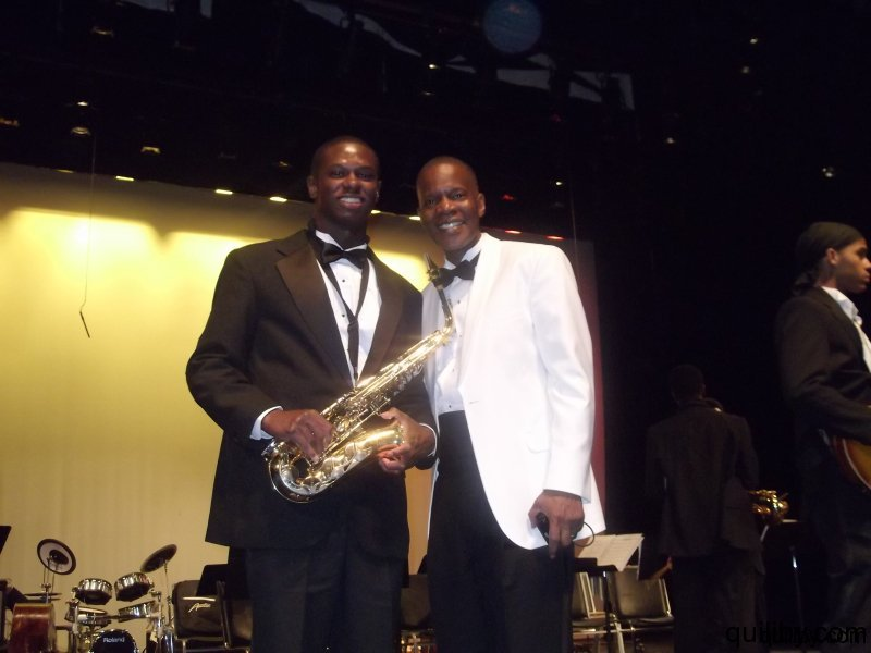 Band Director Mr. Petty with Russell Archer